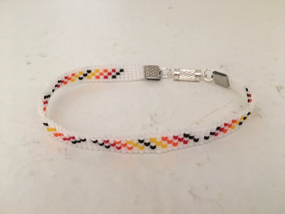 White and Fire Colors Narrow Loom Beaded Bracelet