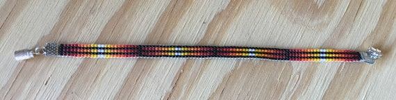 Loom Beaded Narrow Bracelet Black and Sunset Colors
