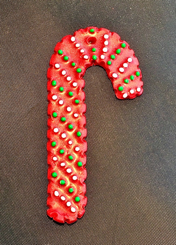 Red Handcrafted Polymer Clay Candy Cane