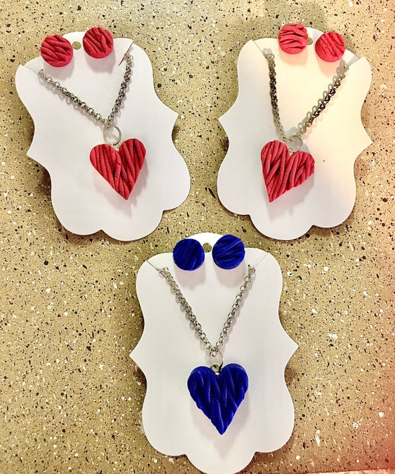Warm Hearts Sweater Polymer Clay Jewelry Set