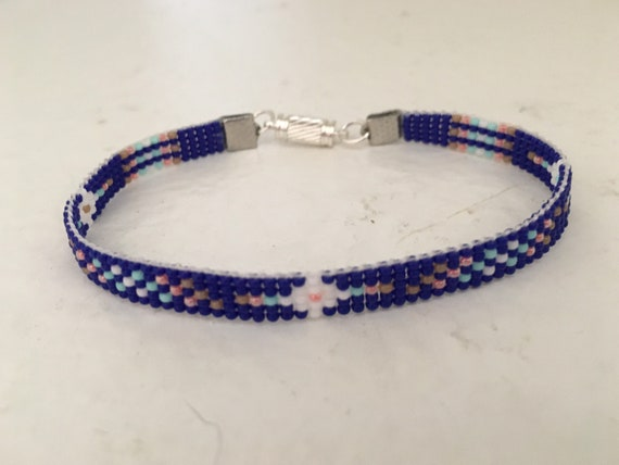Blues Loom Beaded Narrow Bracelet