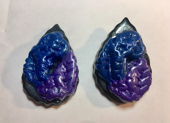 Large Teardrop Polymer Clay Earrings in Black , Navy and Purple