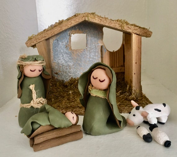 Nativity with Manger and Freestanding Clay Figurines