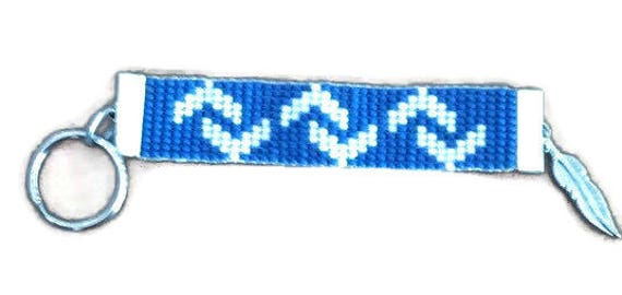 Blue and White Zig Zag Pattern Loom Beaded Keychain