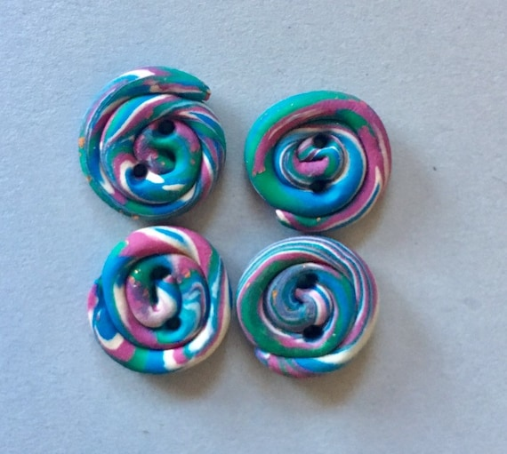 Buttons Pinwheel Multicolored Polymer Clay