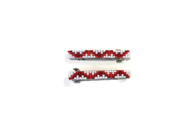 White/Red Small Loom Beaded Hair Barrette Pair