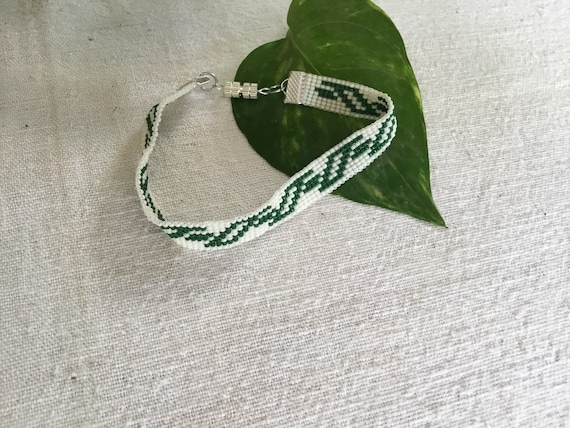 Green and White Narrow Loom Beaded Bracelet