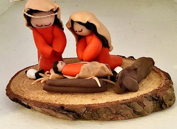 Nativity with Animals Polymer Clay on Wood Base