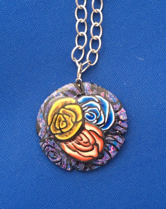 Handcrafted Polymer Clay Pendant 3 Rose Necklace
