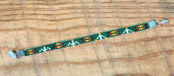 Loom Beaded Bracelet in Hunter Green with Accent Colors