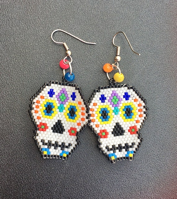 Sugar Skull Brick Stitch Beaded Earrings