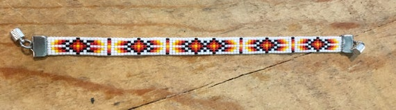 White and Fire Colors Loom Beaded Bracelet