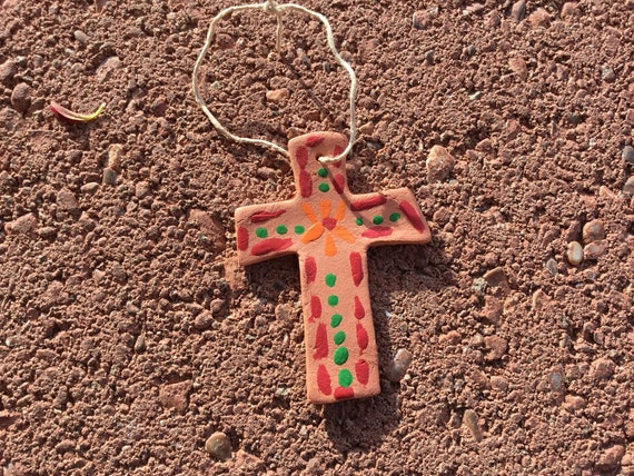 Handcrafted Terra Cotta  Clay Cross Ornament