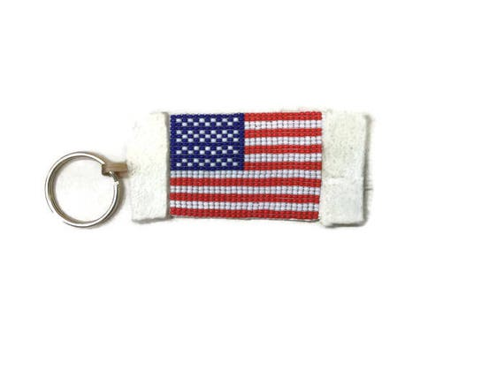 Beaded U.S. Flag Keychain