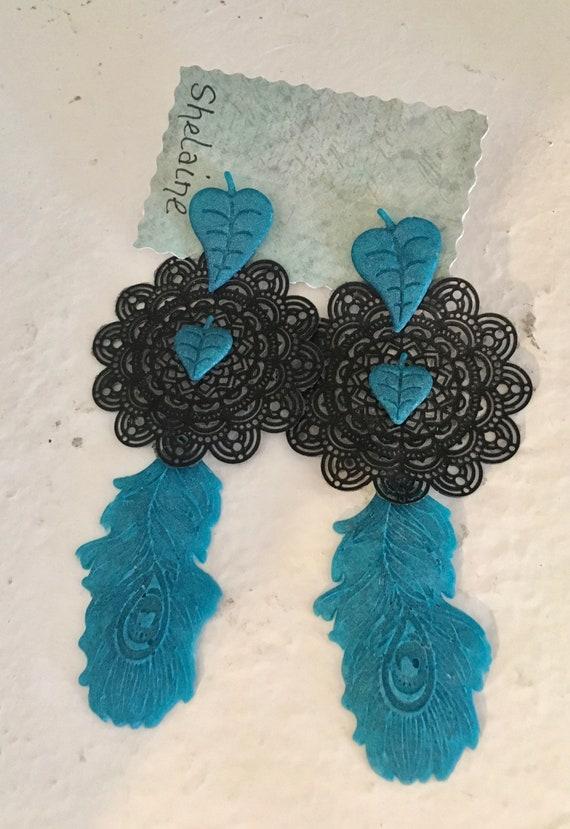Featherweight Blue & Black Pierced Post Earrings