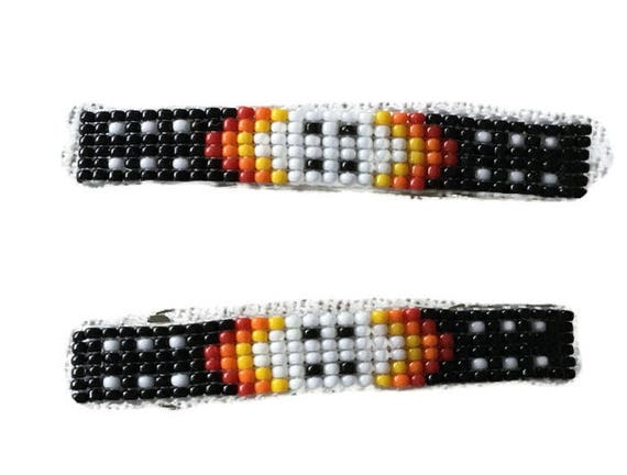 Black and Flame Medium Loom Beaded Hair Barrette Pair