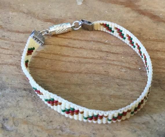 Eggshell with Red/Green Loom Beaded Narrow Bracelet