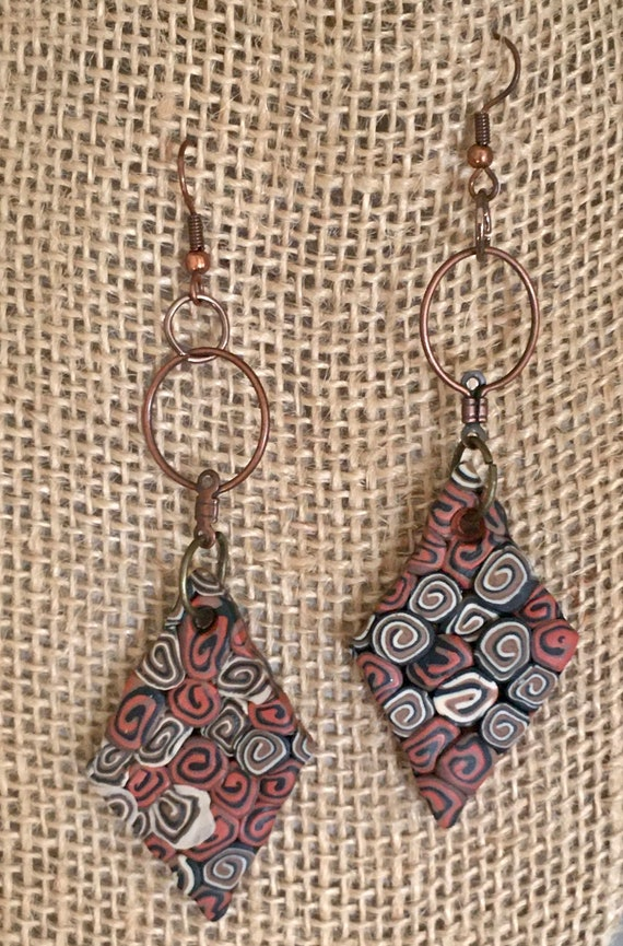 Textured Diamond Shape Polymer Clay Earrings