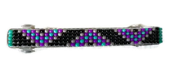 Purple/Blue Loom Beaded Hair Barrette