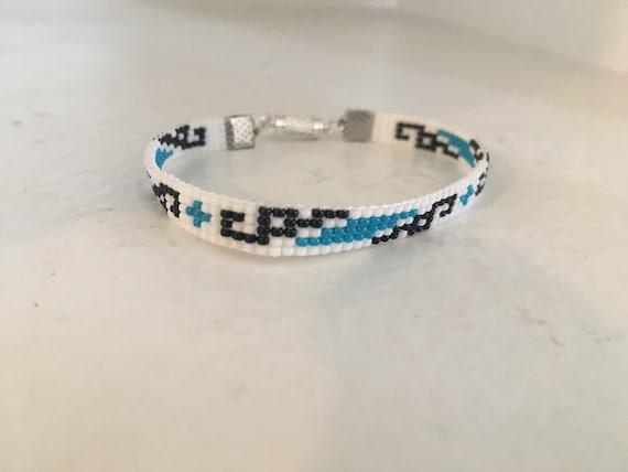 Loom Beaded Narrow Bracelet Geometric Design