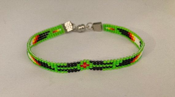 Green Loom Beaded Narrow Bracelet
