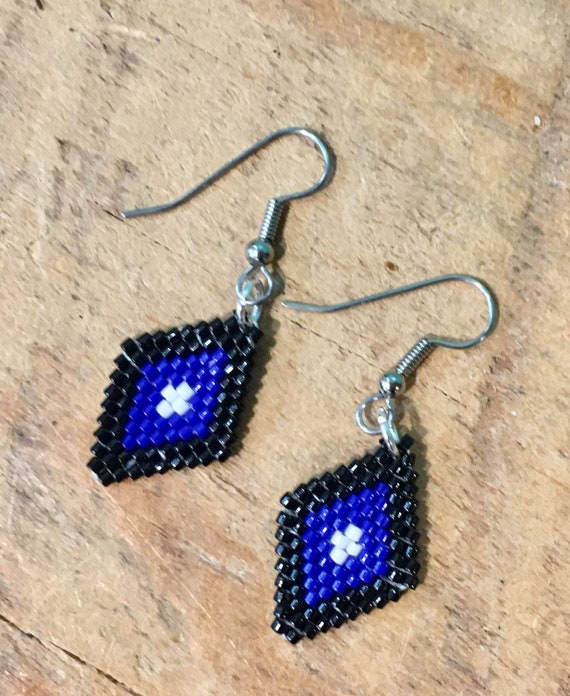 Diamond Brickstitch Beaded Earrings in Black and Blue