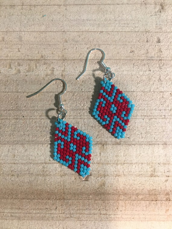 Turquoise and Red Brickstitch Beaded Earrings