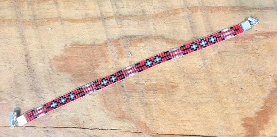 Beaded Bracelet Red, Black, Gray, White Cross Design