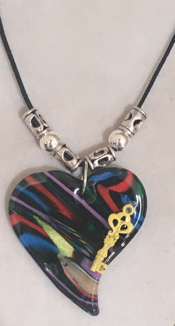 Sweetheart Polymer Clay Heart Pendant Necklace