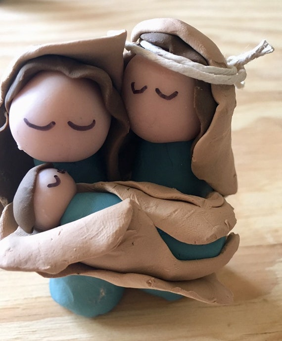 Nativity One Piece 3 Figure in Teal Clay