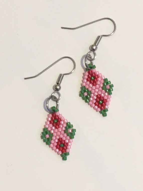 Diamond Pink Green Brickstitch Earrings