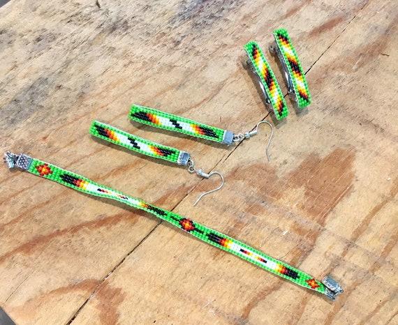 Loom Beaded 3 Piece Set Narrow Bracelet , Earrings & Small Hair Barrettes
