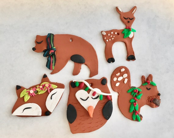 Mini Woodland Creatures Christmas Ornaments in Terra Cotta Polymer Clay