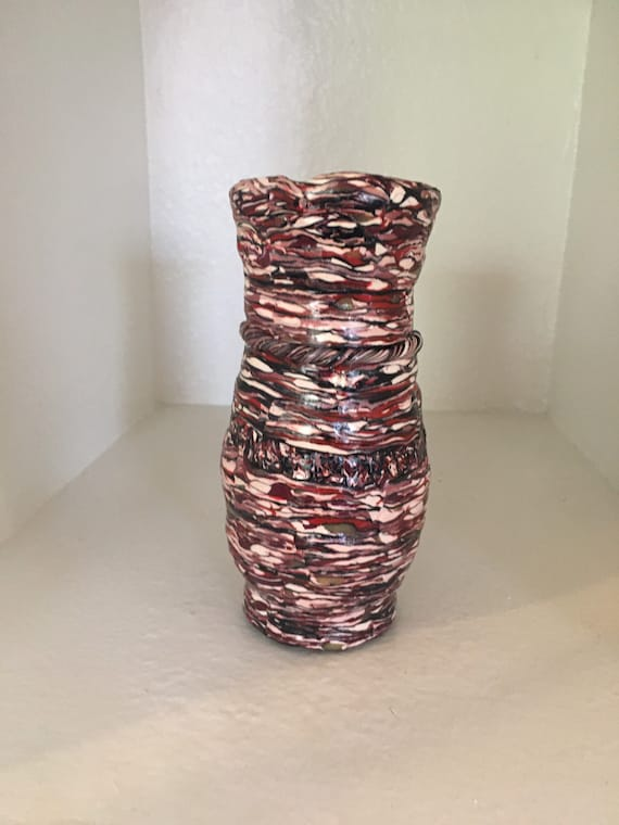 Textured Polymer Clay/Glass Vase in Red Tones