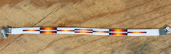 White Loom Beaded Narrow Bracelet With Rectangular Design