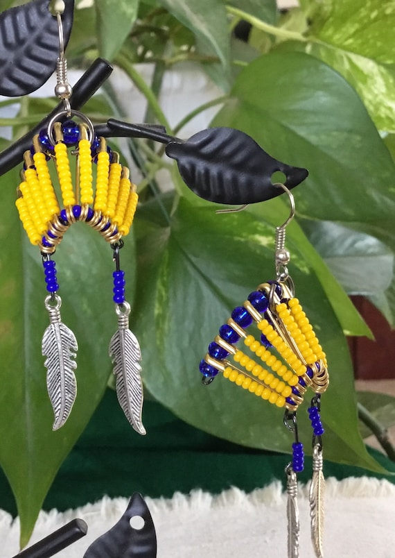 War Bonnet Beaded Pierced Earrings