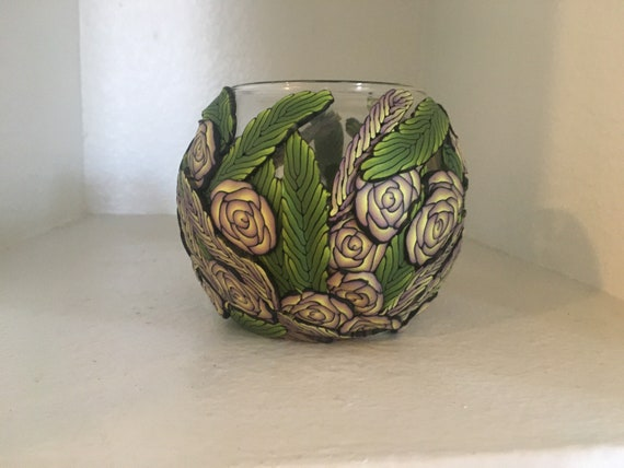 Glass Vase with Polymer Clay Decor