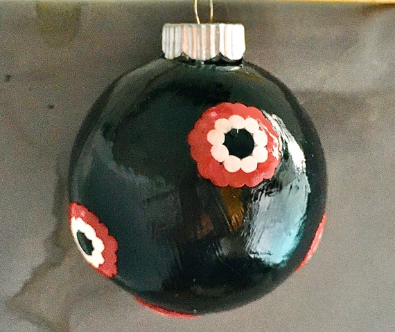 Glass Ornament Black with Red and White Design in Polymer Clay
