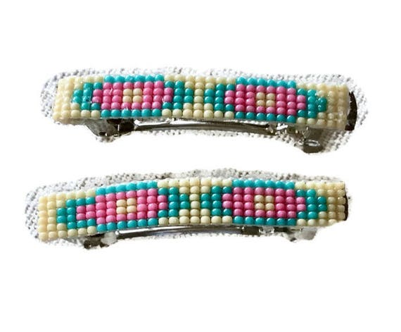 Blue/ Pink Medium  Loom Beaded Hair Barrette Pair