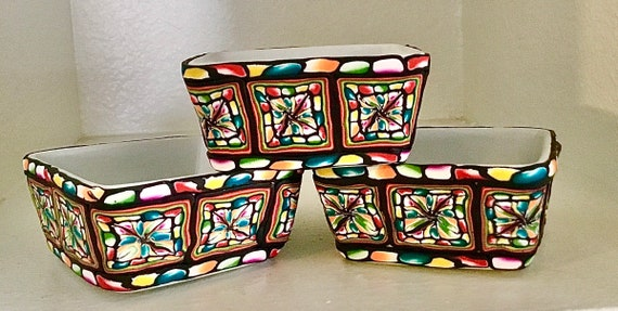Small Bowls Polymer Clay Decorated Set of 3
