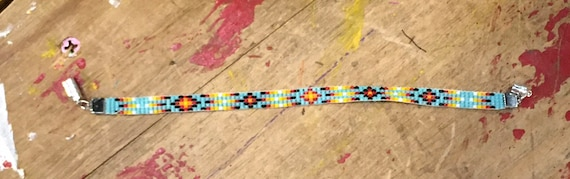Turquoise, Black & Fire Color Narrow Loom Beaded Bracelet