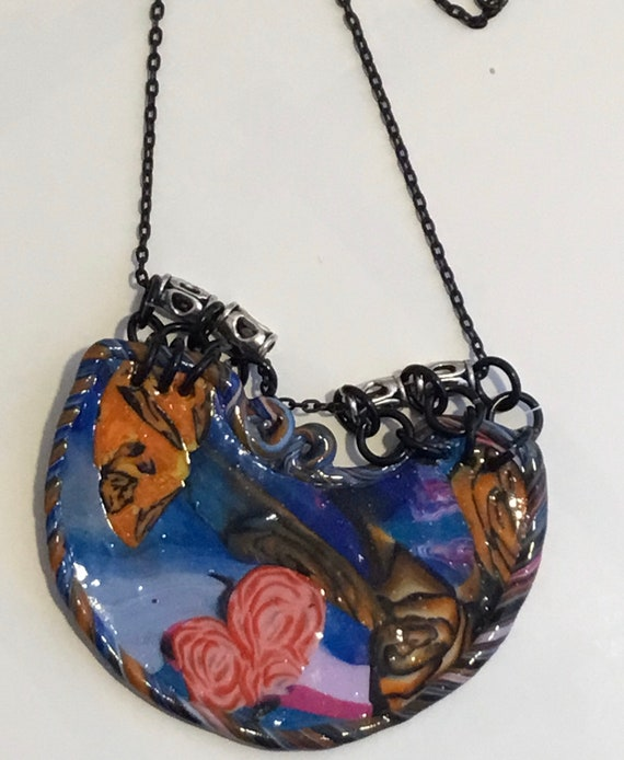 Handcrafted Statement Multicolored Polymer Clay Pendant