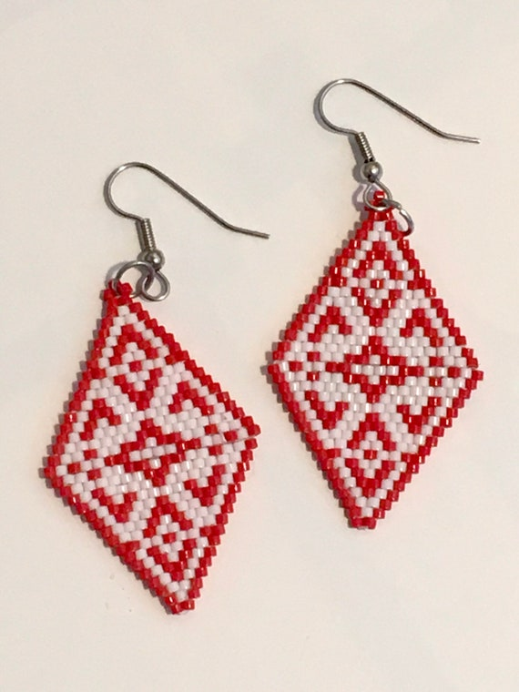 Red and White Brickstitch Beaded Diamond Shape Earrings