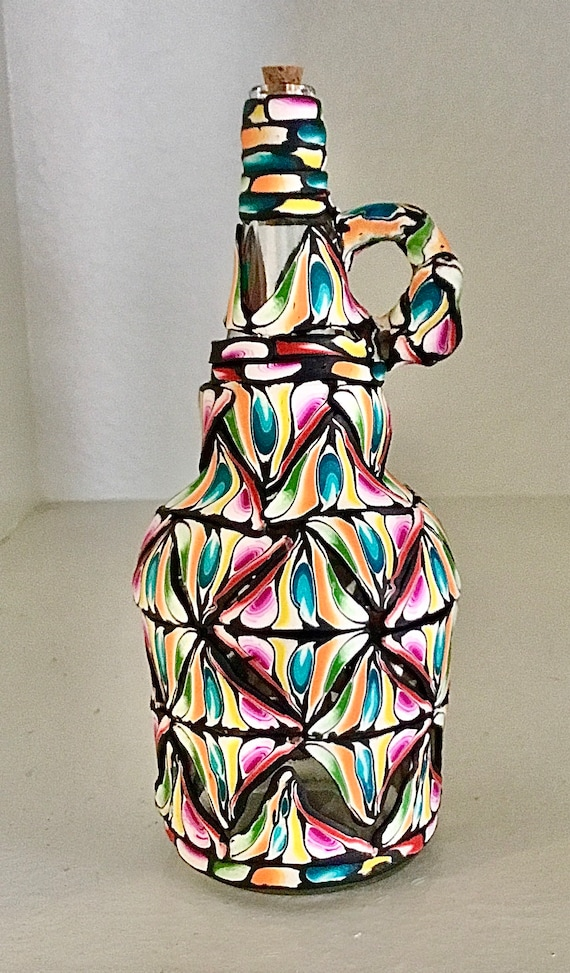 Stained Glass Look Polymer Clay and Glass Decanter