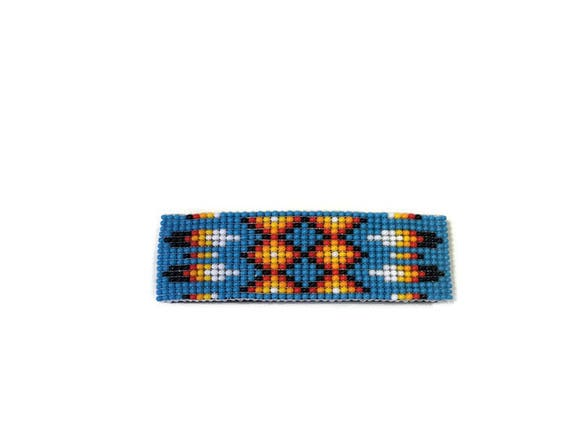 Feather Pattern Loom Beaded Barrette