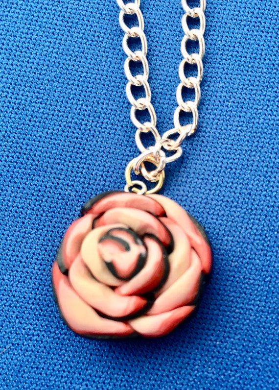 Handcrafted Polymer Clay 3D Rose Pendant Necklace