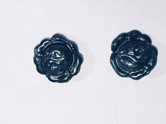 Rose Design Stud Polymer  Clay Earrings