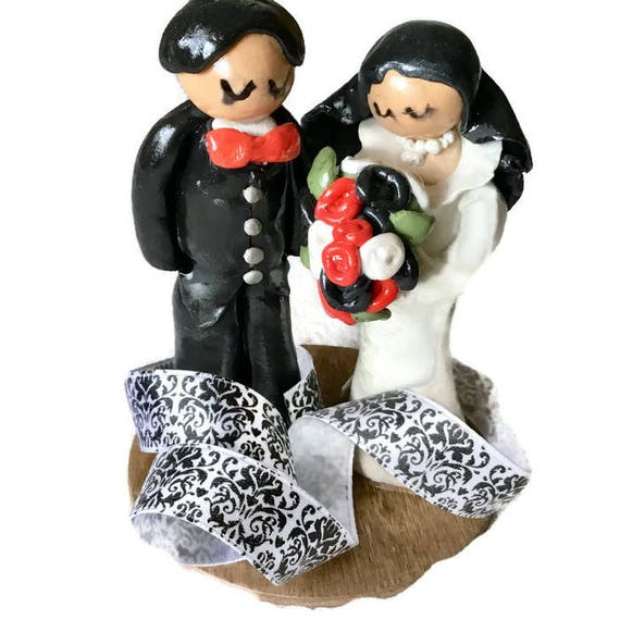 Shy Couple Wedding Cake Topper