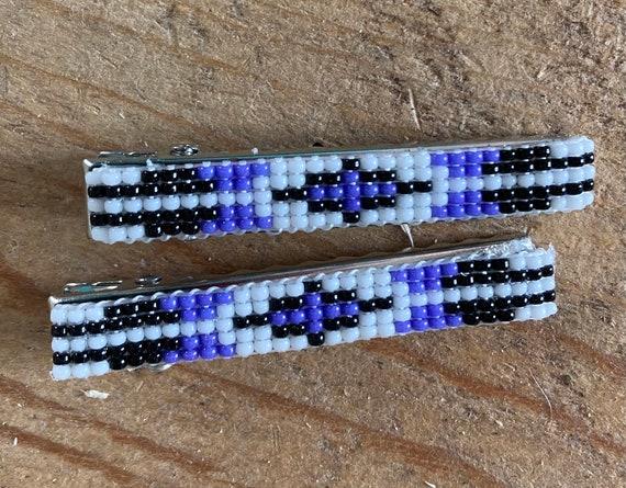 Hair Barrettes Alligator Clips Beaded Purple