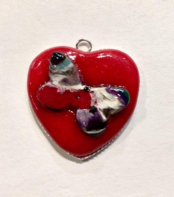 Red Heart With Butterfly Polymer  Clay Pendant